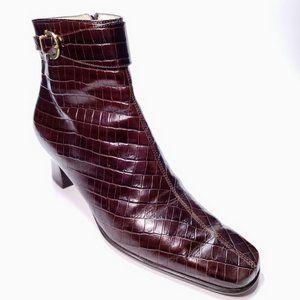 Salvatore Ferragamo Croc Leather Ankle Booties 6.5